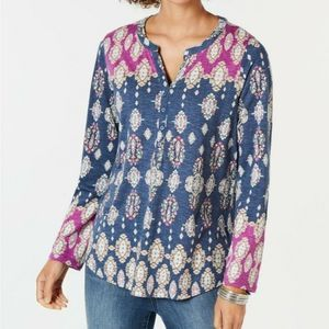 Style & Co Printed Split Neck Roll Tab Shirt S